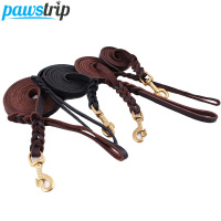 High Quality Genuine Leather Pet Dog Leash Luxury Strong Puppy Collar Leash Lead For Large Dogs