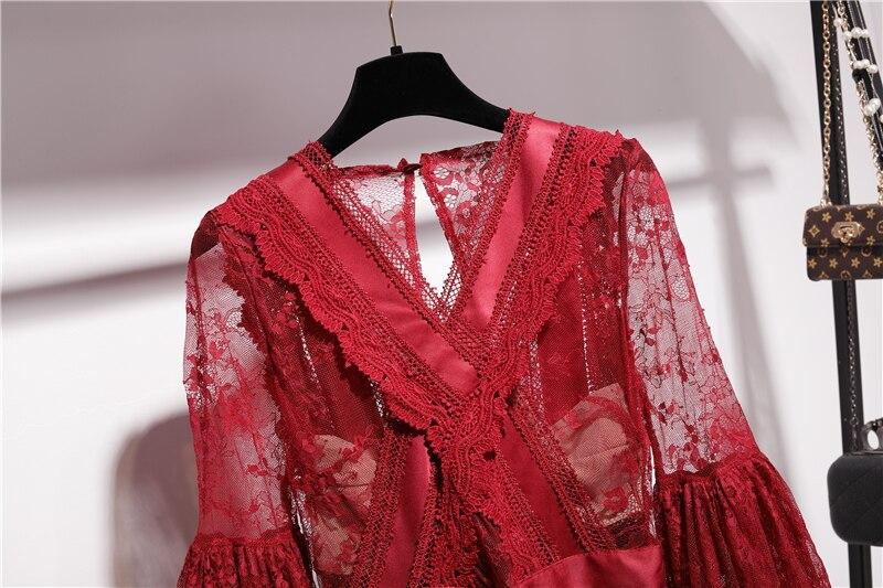 2019 printemps automne dentelle robe femmes nouvelle dentelle soluble dans l'eau col en V évider mince vacances fête en mousseline de soie robe femmes robes - 2