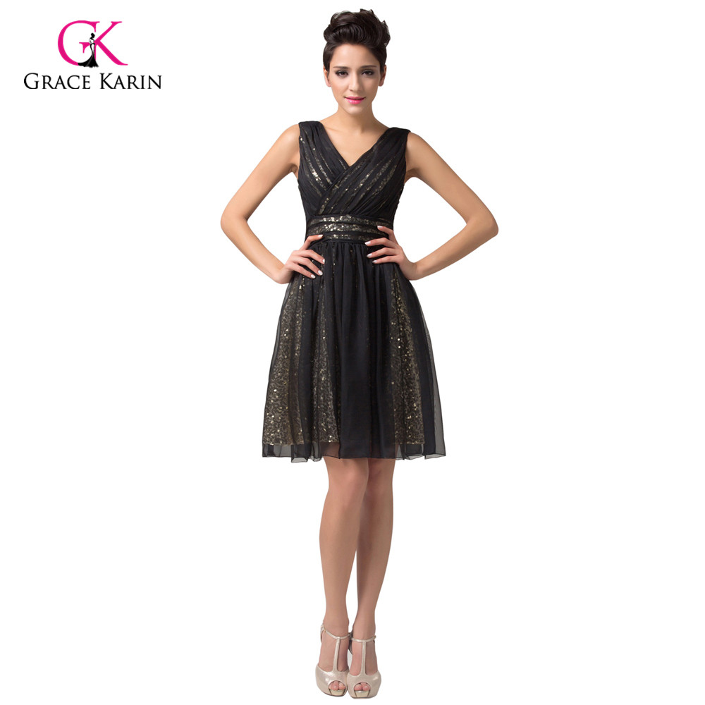 be72279d8 Lujo Vestidos de cóctel gracia Karin negro vestido de fiesta de cóctel sin  mangas Lentejuelas rodilla longitud corto vestido de cóctel 6156