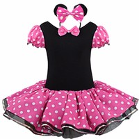 2016 Kids Gift Minnie Mouse Party Fancy Costume Cosplay Girls Ballet Tutu Dress Ear Headband Polka
