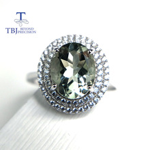 TBJ, 100% natural green amethyst quartz  gemstone ring  925 sterling silver fine jewelry for girls birthday party nice gift