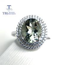TBJ, 100% naturalna zieleń ametyst kwarc kamień pierścień 925 srebro fine jewelry dla dziewczyn birthday party fajny prezent