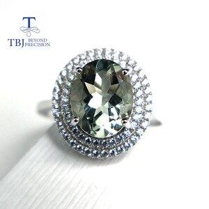 Image 1 - Женское кольцо с аметистом TBJ, Ювелирное Украшение с драгоценным камнем зеленого цвета, в оправе из серебра 100% пробы, для дня рождения