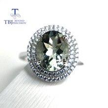 Tbj, 100% Natuurlijke Groene Amethist Kwarts Edelsteen Ring 925 Sterling Zilveren Fijne Sieraden Voor Meisjes Verjaardagsfeestje Leuk Cadeau