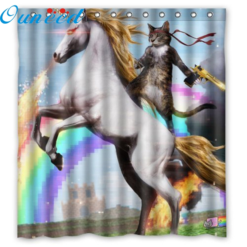 Vey Cool Cartoon Cat and horse Polyester Fabric Waterproof Bathroom Shower Curtain 66 x 72 with 12 hooks Levert Dropship mar7