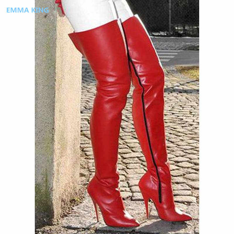 d284a0952bf Winter Women Long Boots PU Leather Solid Red Party High Heels Side Zipper  Ladies Shoes 2018