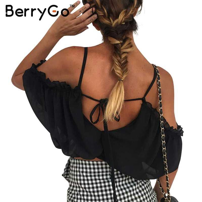 BerryGo Fırfır şifon beyaz bluz Dantel up plaj bluz gömlek kadın üstleri Elastik backless kadınsı bluz chemise femme blusas