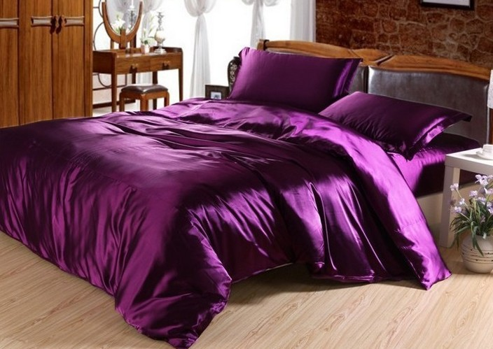 7pcs Dark Purple Satin Silk Bedding Set California King