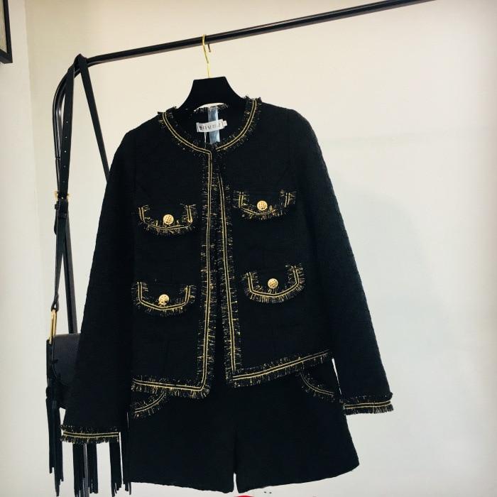 Piste Blazer Bouton Shorts Pièces Mode Pièce Noir Lxunyi Femmes Veste Tweed Costume Ensemble Patchwork Hiver Automne De 2 Deux wxf6H