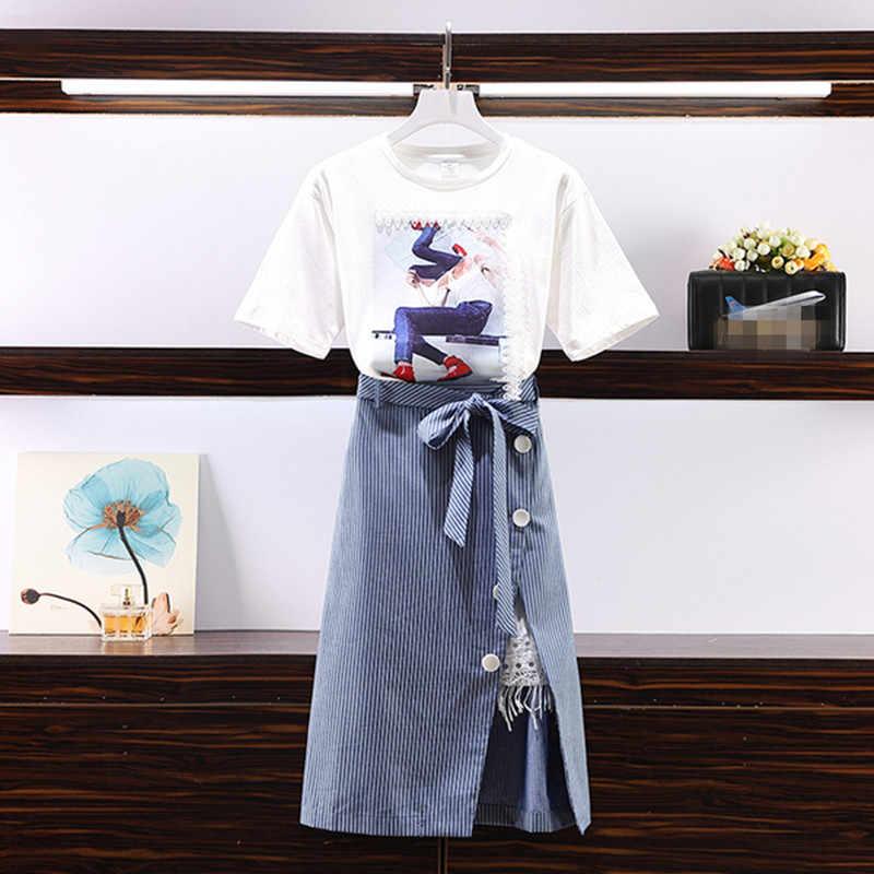 人格文字印刷レースパッチワークコットン Tシャツ + ボウノットストライプボタン分割スカートスーツカジュアル学生 2 個セット