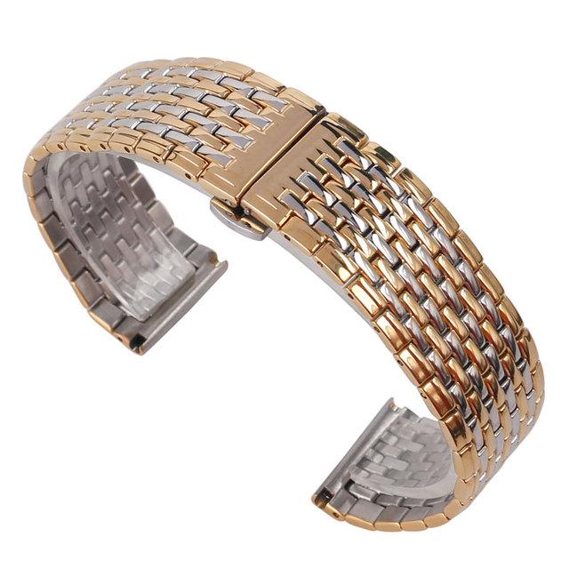 20mm 22mm Watch Band HQ Ajustável Alça de Moda de Prata de Ouro de Aço Inoxidável Pulseira de Ligação Sólida Substituição + 2 Barras de molas
