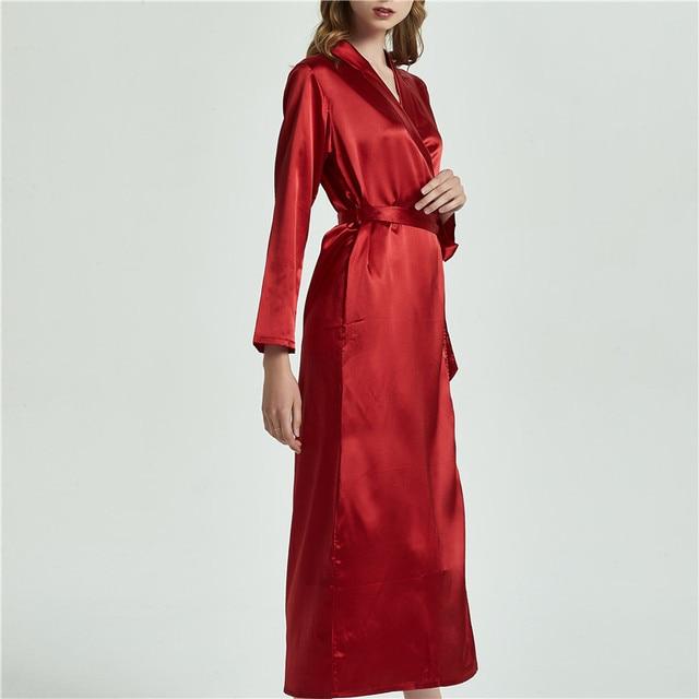 ee89c0ed01 Robe Lounge Femme Women Satin Long Robes Sleepwear Long Flare Sleeve  Bathrobes Elegant Kimono Robe Bridesmaid Robes Nightgown