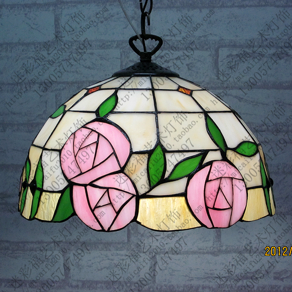 12inch European Tiffany rose Stained Glass Lampshade Tiffany Table Lamp Country Style Bedside Lamp E27 110-240V 16inch tiffany style rose glass pendant light bedroom study color glass lamp e27 110 240v
