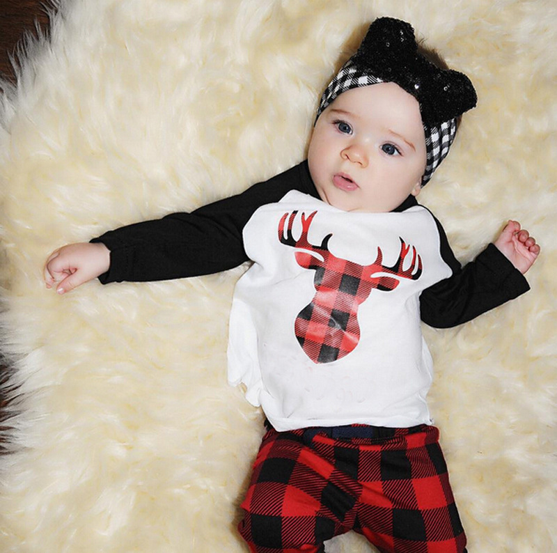 2017 Baby Black Red Long Sleeve Deer Print Tiny Cottons Funny Tshirt + Long Pant 2Pcs Kids Clothing Set Sunsuit Outfits 2017 funny baby christmas rompers tiny cottons red green long sleeve toddler fashion jumpsuit sunsuits baby party