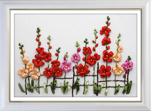 Little Flowers Ribbon Embroidery Kit Finished Picture Canvas Paint
