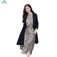 Ветровка пальто средней длины корейской версии Новинка Осенняя мода Изящная верхняя одежда темперамент дамы пальто okxgnz