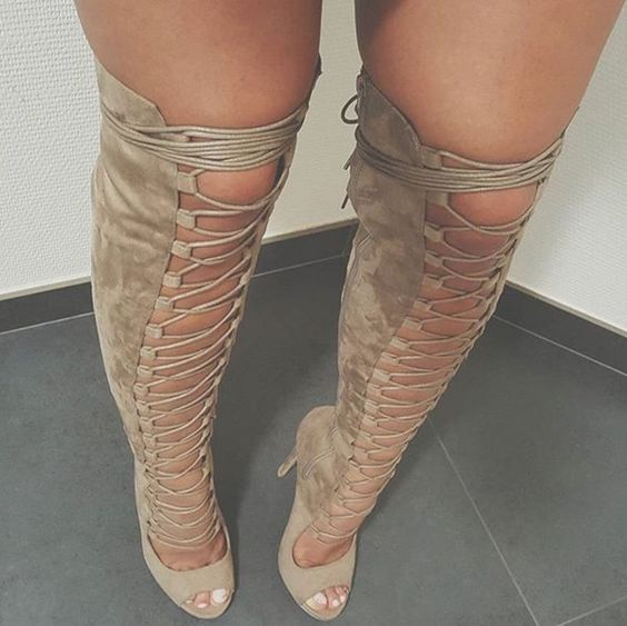 Hot selling suede lace up boots sexy open toe cutouts gladiator sandal boots cutouts over the knee boots high heel boots