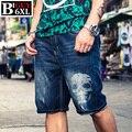 Bermuda Masculina Cópia Do Crânio Shorts Jeans Homens Tamanho Grande 4XL 5XL Calções de Verão 2016 Shorts Jeans Masculinos dos homens 6XL Jean Homme 533