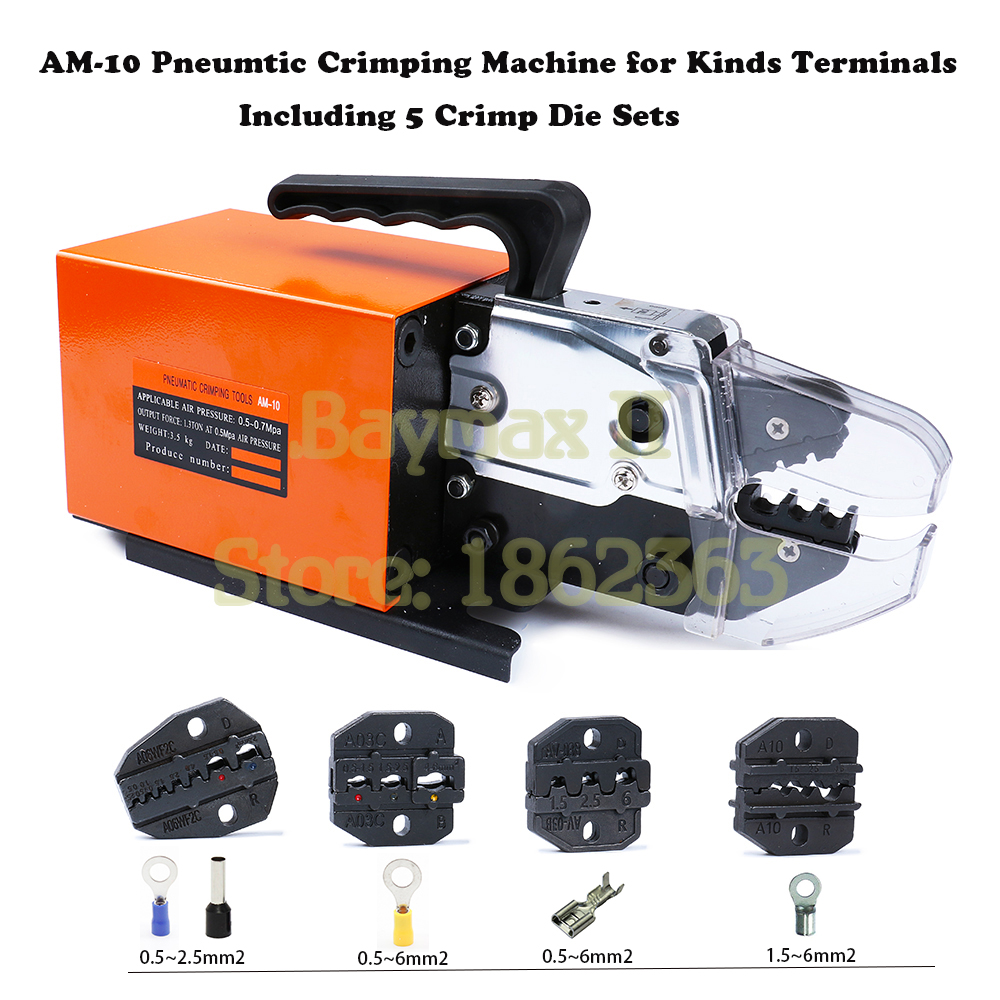 AM-10 Pneumatic Crimping Tool Crimp Machine for Kinds Terminals with 4 Die Sets OptionAM-10 Pneumatic Crimping Tool Crimp Machine for Kinds Terminals with 4 Die Sets Option