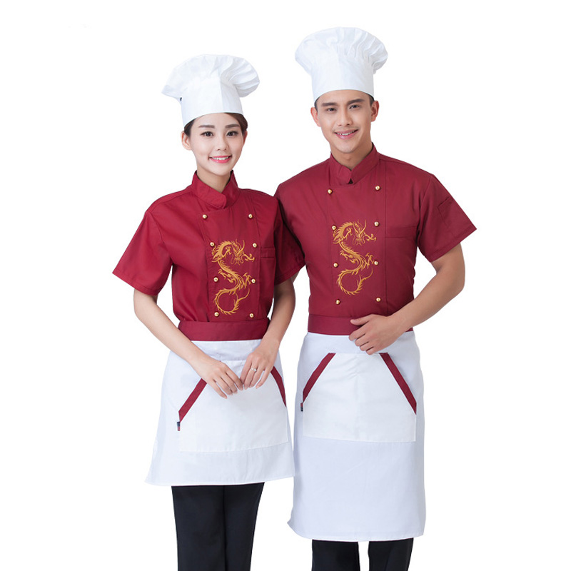 Summer Kitchen Chef Jacket Uniforms Short Sleeve Embroidery Hotel Cook Clothes Work Wear Chef Uniform Food Services Frock Coats