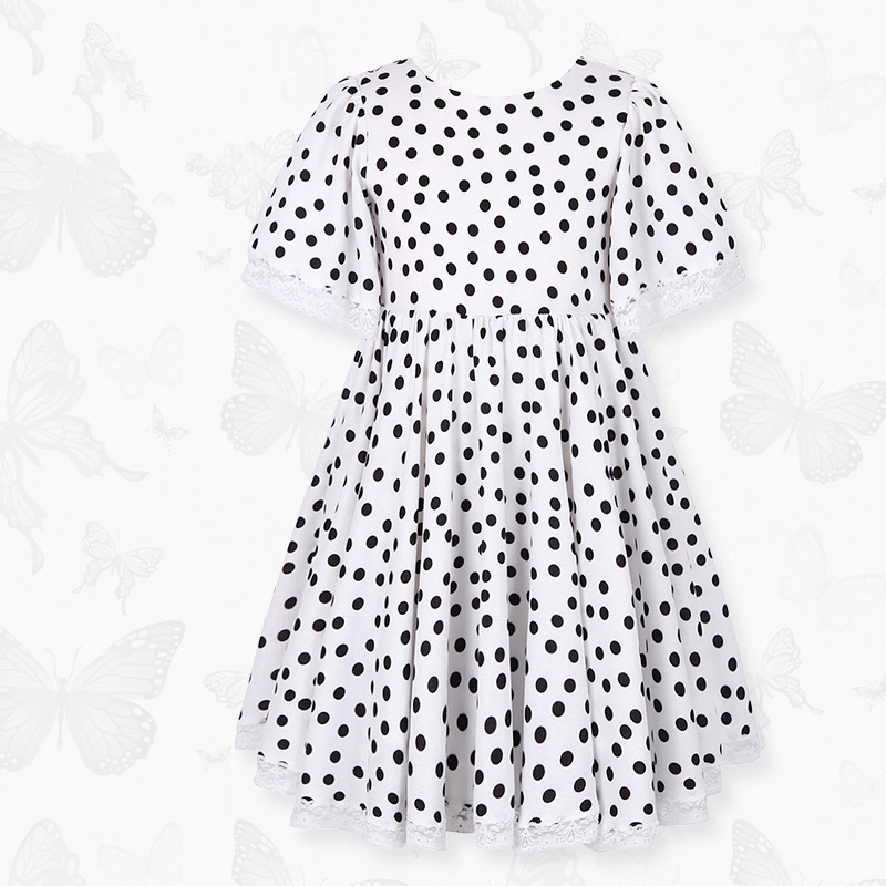 Girls dress 2018 summer new children's black and white dot princess dress long dress girl lace short sleeve dress classic short sleeve round neck black and white stripe bodycon dress for women
