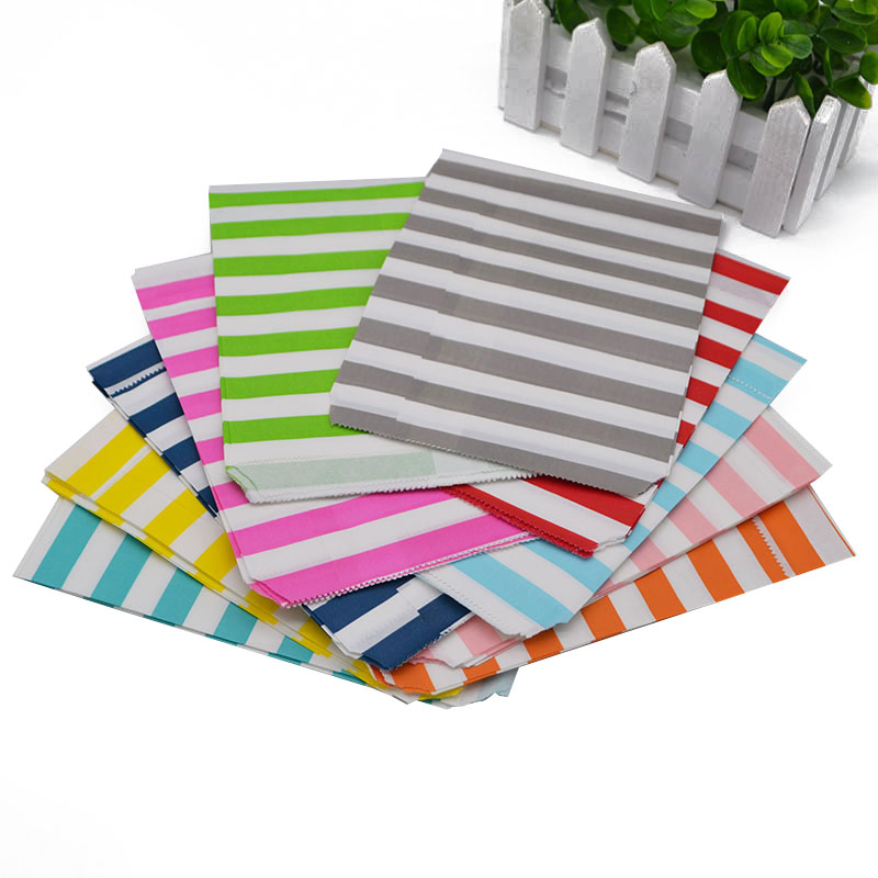 25pcs/lot Striped Paper Bag Candy Cookies Cupcake Bag Kids Birthday Party Supplies Grease Proof Paper bags