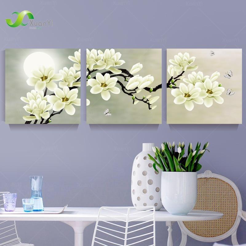 3 Panel Orchidee Blumen Wandkunst Bilder Wand Blume Leinwand Malerei - Wohnkultur - Foto 2