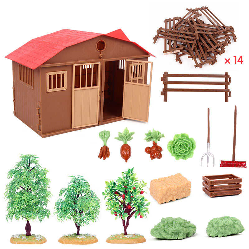 Action Figures Zoo Farm House Model Farmer Cow Duck Poultry Animals Set Figurine Miniature Lovely Educational For Kids Toy