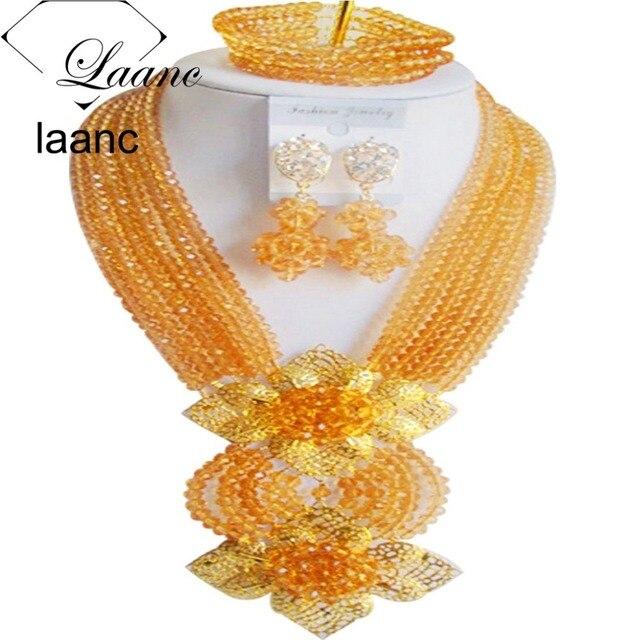 Brand Laanc 18inches 2017 Design Fashion Dubai Gold Jewelry Set Crystal Nigerian Wedding African Beads AL132