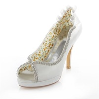 Crystal Peep Toe Ivory White Yellow Platform Wedding Party Banquet Bridal Marriage Shoes 4 Inches High