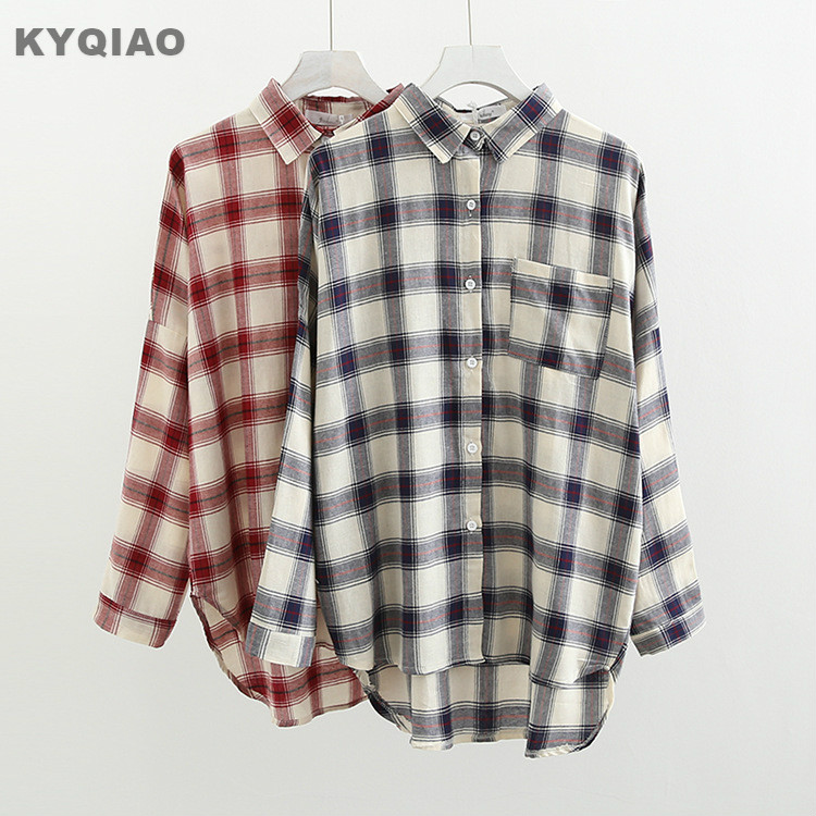 Kyqiao Women Bf Style Plaid Shirt Female Autumn Winter Japan Style Japanese Style Casual Loose Long Sleeve Plaid Blouse Blusa Blouses & Shirts