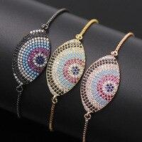 Colorful Cubic Zircon Bracelet For Men Jewelry Fashion Brand Hamsa Evil Eye Bracelet Accessory Men Charm