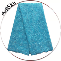 Nigerian High Quality Lace Fabric African White Net Lace Material Turquoise Blue Gray French Tulle Lace Fabric 2018 With Stones