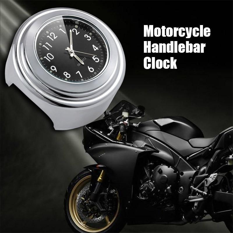 1pc Waterproof Handlebar Mount Quartz Clock for Motorcycle 7/8 1 Chrome Watch for Ducati Suzuki Kawasaki Yamaha1pc Waterproof Handlebar Mount Quartz Clock for Motorcycle 7/8 1 Chrome Watch for Ducati Suzuki Kawasaki Yamaha