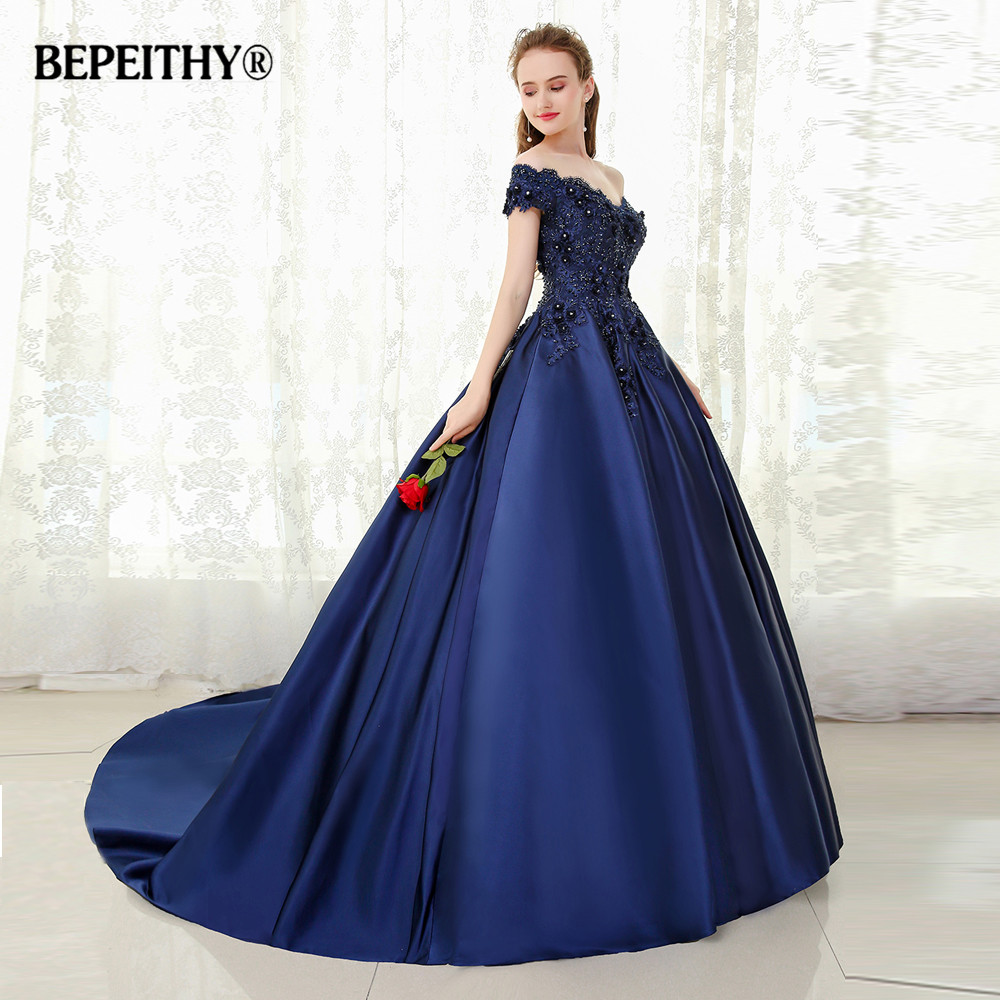BEPEITHY V-neck Navy Blue Long Evening Dress Lace Beaded Vintage Prom Gowns Vestido De Festa Off The Shoulder Cheap Evening Gown