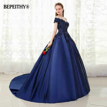 BEPEITHY V-neck Navy Blue Long Evening Dress Lace Beaded Vintage Prom Gowns Vestido De Festa Off The Shoulder Cheap Evening Gown - DISCOUNT ITEM  48% OFF All Category