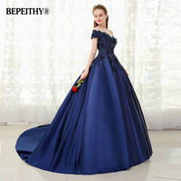 BEPEITHY V neck Navy Blue Long Evening Dress Lace Beaded Vintage Prom Gowns Vestido De Festa Off The Shoulder Cheap Evening Gown