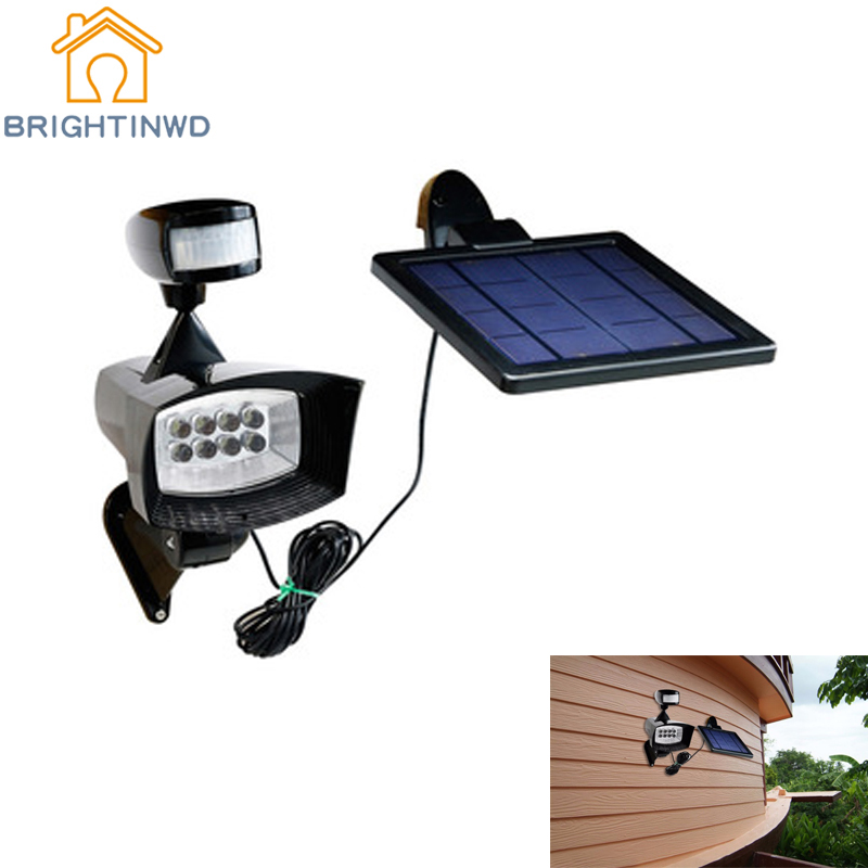 Solar Light Body Sensor Spotlight 8LED Household Flood lights Emergency Morden Wall Lamp Street Garden Lighting Waterproof IP44 ds 360 solar sensor led light black