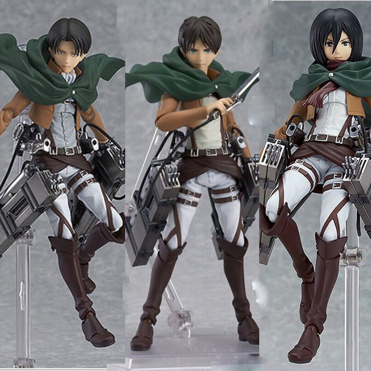 Attack on Titan Shingeki no Kyojin Rivaille Figma 213&207 Allen &203 Mikasa Boxed PVC Action Figure Model Collection Toy 6 14CM attack on titan anime 17 cm mikasa ackerman battle version pvc anime figure collection doll model toy kids toys pm scene tw18