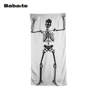 Babaite Horror Human Skeleton Dancing Halloween Black White Styles Bath Beach Towel Swimming Wrap Pool Sheet