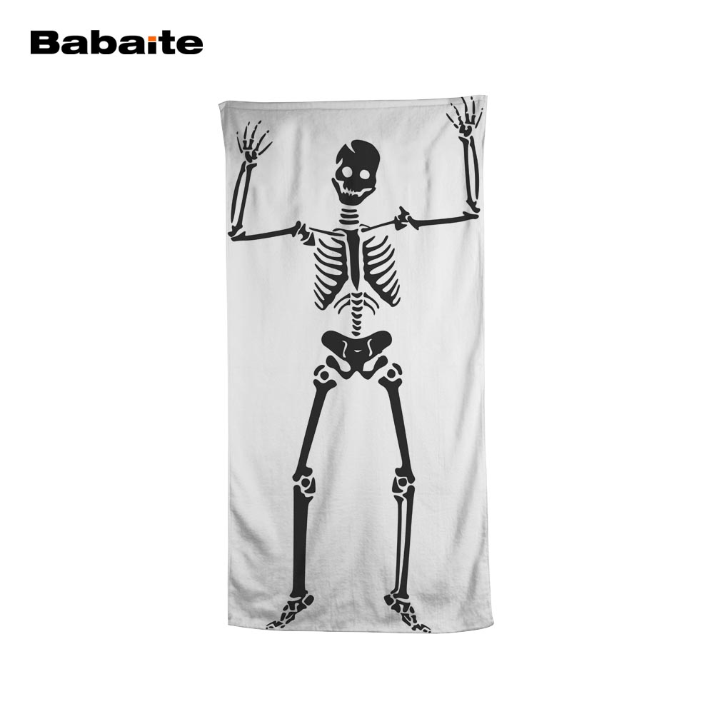 Babaite Horror Human Skeleton Dancing Halloween Black White Styles Bath Beach Towel Swimming Wrap Pool Sheet Adult Kids Blanket