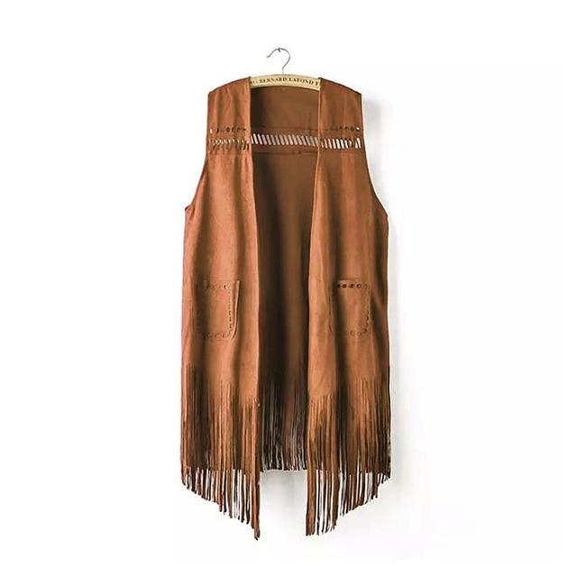 spring autumn suede ethnic sleeveless tassels fringed vest cardigan khaki Retro Suede Leather Vest Women Waistcoat