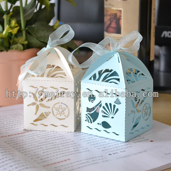 Personalized Wedding Favors Beach Laser Cut Party Decorations Sea Shell Favor Box