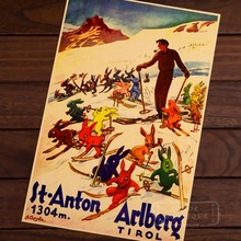 Esquí en San Anton Arlberg mapa clásico Vintage Retro Decoración en papel Kraft Poster Maps Home carteles para Bar pared pegatina de lona decoración regalo t