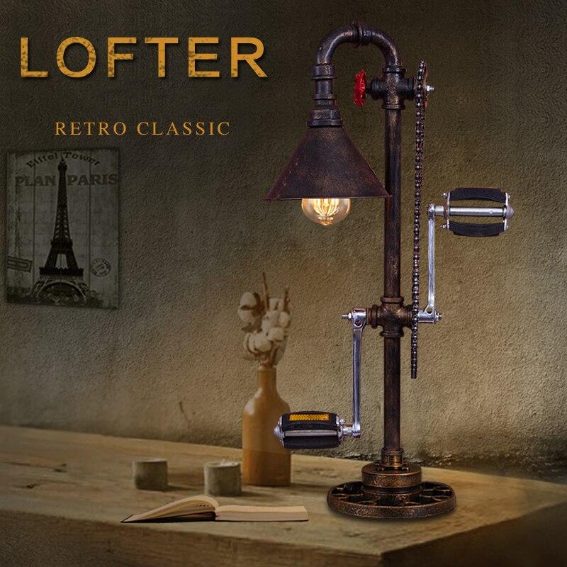 Lampe de bureau Vintage en fer à eau. Créatif vélo pied pédale Gear rétro table lumières lampe loft industriel lecture lampe Haomer