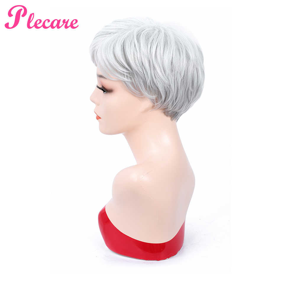 Plecare Pruiken High Temperature Fiber Grey Hair Wigs Short Straight Gray White Silver Synthetic Wig For Women Pruik Cosplay Wig