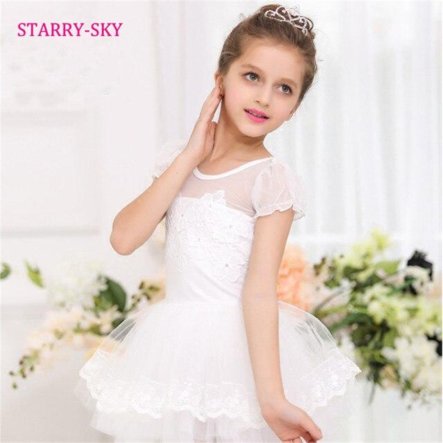 d9ccb4d3d8 White Ballet Dress Girls Dancewear Gymnastics Performance Dance Clothes  Cotton Cute Ballet Dresses Children Kids Leotard Tutu