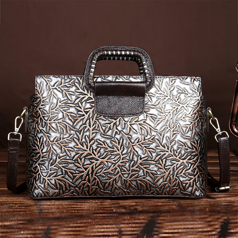 New Arrival Women Handbag Genuine Leather Tote Bag Famous Brand Embossed Cowhide Vintage Messenger Shoulder Bags High Quality