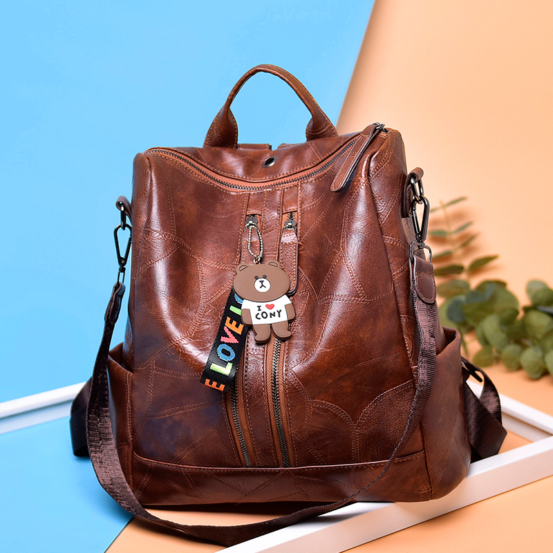 Image 5 - 2019 Vintage Women Backpack High Quality Youth Leather Backpacks for Teenage Girls Female School Shoulder Bag Bagpack mochila-in Backpacks from Luggage & Bags