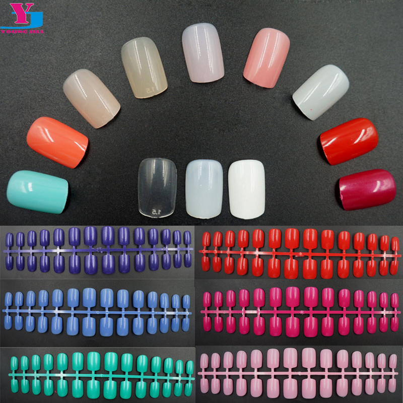 50pcs/set Wholesale Professional Colofrul Fake Nail Art Tips Decorated 25 Colors False Nails French Manicure Women Nail Tools